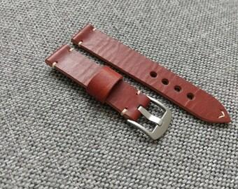 Handmade dark english bridle distressed watch strap - 18mm