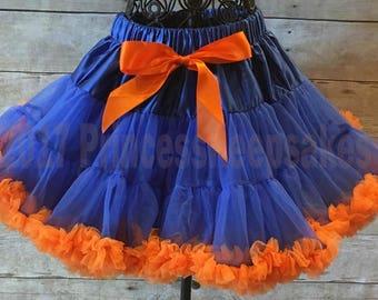 Gators Pettiskirt, Broncos Skirt, Pettiskirt, toddler pettiskirt, Broncos Pettiskirt, Gators Skirt, blue and orange