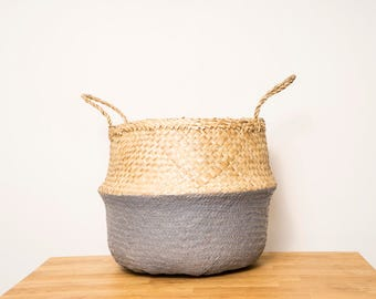 Seagrass belly basket- dipped grey