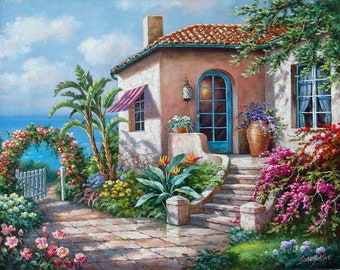 """Coastal Cottage View - Traditional Oil Painting Landscape Seascape 30"""" x 24"""" by Sung Kim"""