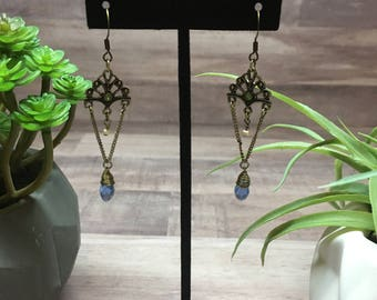 Antique Style Blue Stone Earrings
