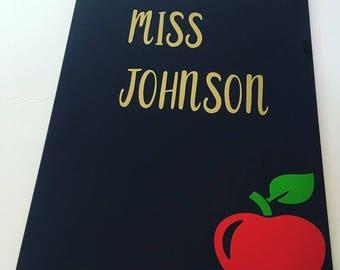 Clipboard, teacher appreciation, personalized teacher name, apple