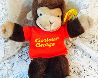 Vintage Curious George Plush Toy Hand Puppet By Gund - Tags still on - 1998