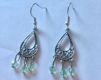 Silver Mint Green Chandelier Dangly Earrings with Swarovski Crystals On Sterling Silver Ear wires.