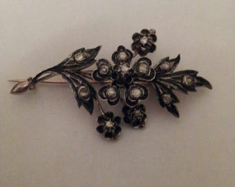 Antique Victorian flower diamond brooch