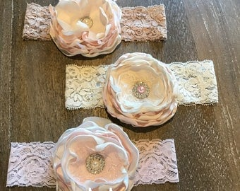 Blushing Bride Collection...cream pink Infant toddler headband