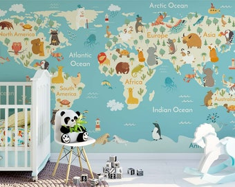 World Map Wall Paper world map wall mural | etsy