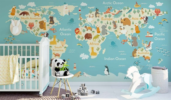 Jungle animals theme world map wall sticker mural removable like this item gumiabroncs Image collections