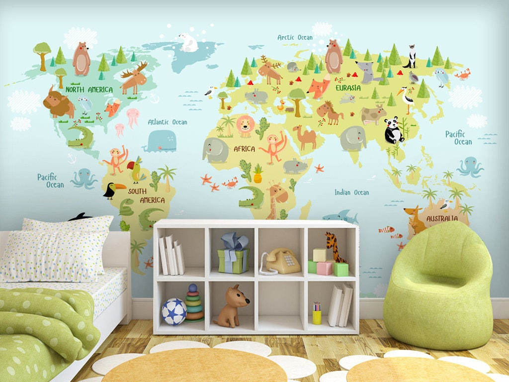 Baby animals element ocean map wall mural removable non woven baby animals element ocean map wall mural removable non woven wallpaper personalized animal world map gumiabroncs Images
