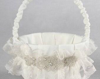 Cecilia Ivory Flower Girl Basket