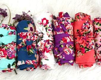 Bridesmaid robes Set of 9, Floral Robe, Cotton Floral Robe, Bridesmaid Gifts, Bridal robes set, Cotton Robe, Wedding Robe