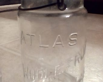 Vintage Old Clear Glass Wholefruit Canning Jars  Quart Size