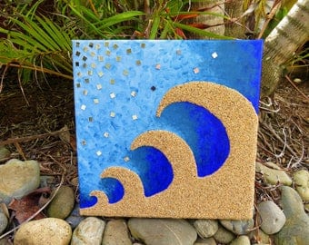 Mirrored Wave - Multimedia Acrylic Painting