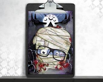 Mummy, art print, posters, fine art print, art print, poster art, horror, cute, Monster