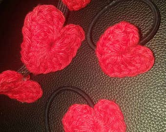 Hearts headband and ponytail holders.  Red and black.