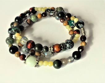 Long mixed gemstone beaded necklace - mystic quartz, picasso jasper, snowflake obsidian, serpentine, malachite, amazonite, leopardskin
