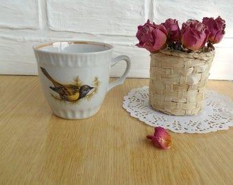 Ceramic white cup with bird Tea vintage cup Faience coffee tea cup USSR Vintage coffee cup Russia vintage Soviet porcelain Old porcelain 80s