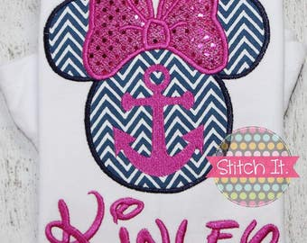 Girls anchor Minnie Mouse silhouette appliqued shirt - Disney - Cruise - Vacation
