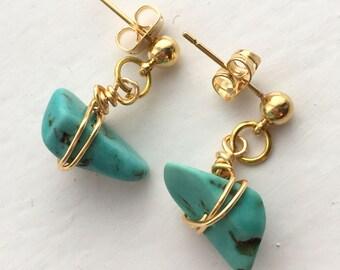 Turquoise stud dangle earrings
