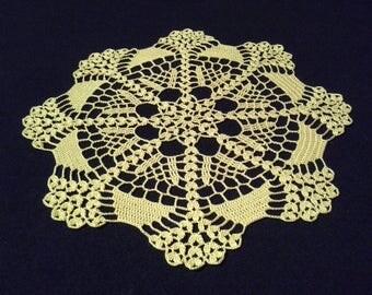 Crochet doily - Round doilies - Medium doily - Yellow doily - Home decor - Crochet doilies