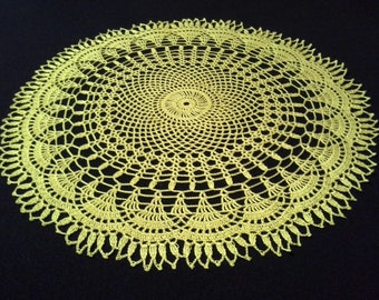 Crochet doily - Round doilies - Large doily - Yellow doily - Home decor - Crochet doilies
