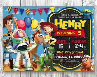 Toy Story Birthday Invitation 5x7 / 4x6 Toy Story Party Custom Chalkboard Invitation, Toy Story Printable Invitation Card, Toy Story Invites