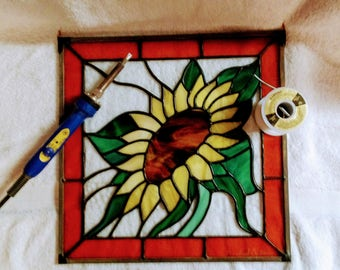 Stained Glass Sunflower/ Hanging Art/