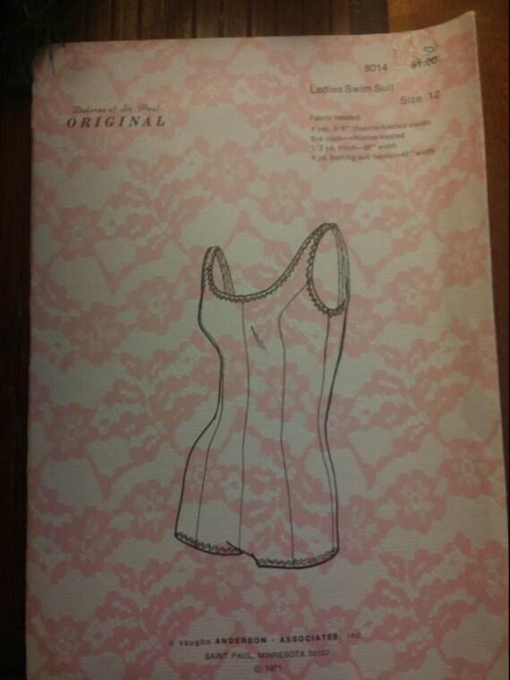 1970's Dolores of St Paul Original #8014  Ladies Swim suit Sz 12 uncut factory folded