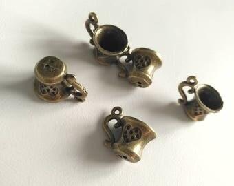 5pcs 10x12x15mm Antique Bronze Small Cup Charm