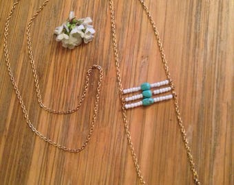 Boho ethnic gold necklace with howlite turquoise blue and white pearls, native american necklace