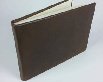 Handcrafted A5 OOAK unique compressed leather bound book with buckram bindings Australian Made