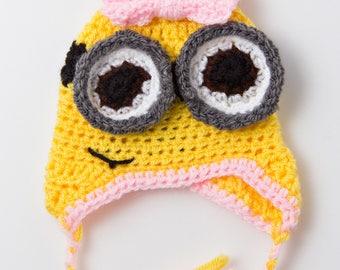 Handmade Minion Baby Girl Beanie