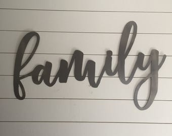Large Family Sign, Family Metal Sign, Family Steel Sign