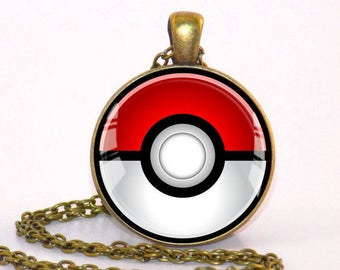 Pokemon Pokeball Bronze style pendant necklace