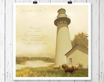 8x8 digital download, lighthouse art print, vintage art, nature art, country art, country decor, square print, digital print