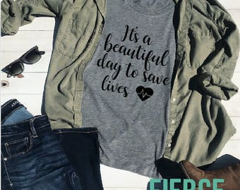 It's a Beautiful Day to Save Lives Grey's Adult Unisex Shirt, Adult Unisex, Meredith Grey, Cristina Yang, Grey's Anatomy
