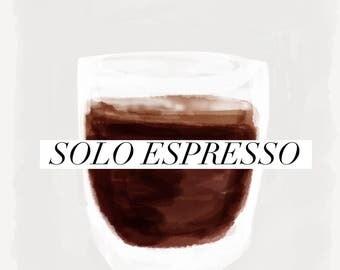 Solo Espresso Drawing Demitasse Doppio Illustration