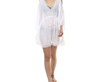 White cold shoulder kaftan beachdress