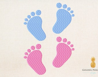 Baby foot embroidery design - 6 sizes - birth embroidery design - baby embroidery - baptism embroidery design
