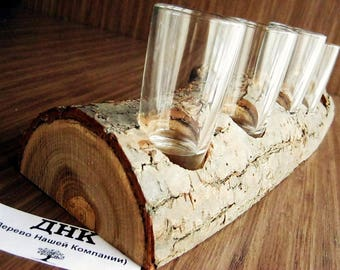Wooden candle holder and wine glasses