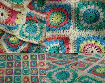 Crochet baby blanket in granny squares, multicolor