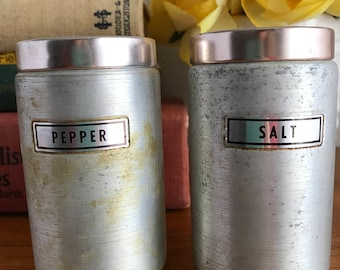 Retro Pink Copper Top Salt and Pepper Shakers