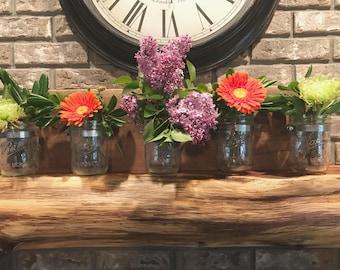 Hanging Wall Planter, Mason jar shelf