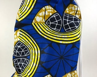 Shoe bag African Print fabric, handmade, drawstring closure. Fits low profile men and women shoes up to size 12