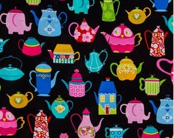 Cotton fabric, fabric by the yard, sewing fabric, nursery fabric, craft fabric, apparel fabric, fabric quarter, swatch, tea print fabric