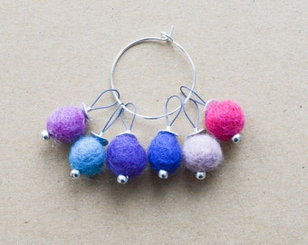 Bright Snag-Free Felted-Wool Stitch Markers - Fits up to 4.0 mm (8 U.S.)