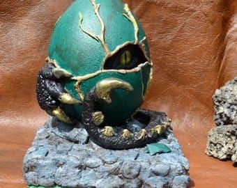 OOAk hand made Hatching Dragon in real Emu egg (Grendel)