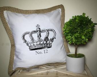 French Market White Canvas & Burlap Farmhouse Paris Royal Crown No 12 Pillow Cover
