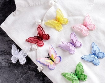 Lace Butterfly. 4pcs. Butterfly Applique. Butterfly Patch. 3-Dimension Butterfly. Sewing supplies. Adhesive Applique
