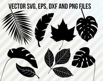 Leaves Svg, Leaf clipart, Tropical leaf svg, Leaf svg, Dxf files, Tropical cutfiles, Monstera svg, maple leaf, cameo, botanical svg, botanic